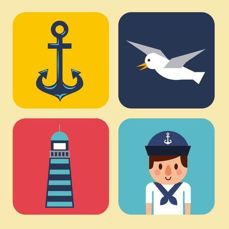 Nautische ontwerpelementen anker wiel boot vissen reddingsboei vuurtoren Stock Illustratie