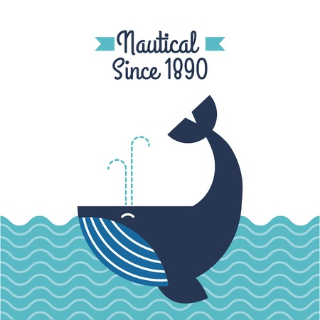 Nautical whale in ocean wildlife aquatic vector illustration Illusztráció