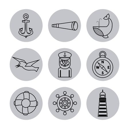 Nautical design elements anchor wheel fish lifebuoy compass bird spyglass lighthouse vector illustration