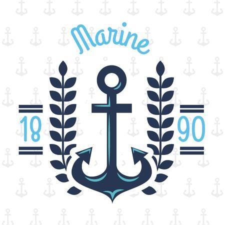 Ancorare l'illustrazione acquatica di tema marino o nautico di vettore di progettazione Archivio Fotografico - 85127432