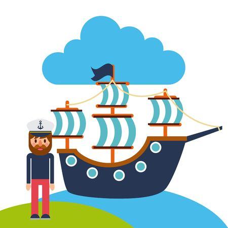 Cartoon captain sailor in uniform with the ship vector illustration.