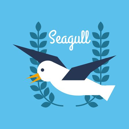 Seagull nautical bird animal badge design vector illustration. Banco de Imagens - 85126386
