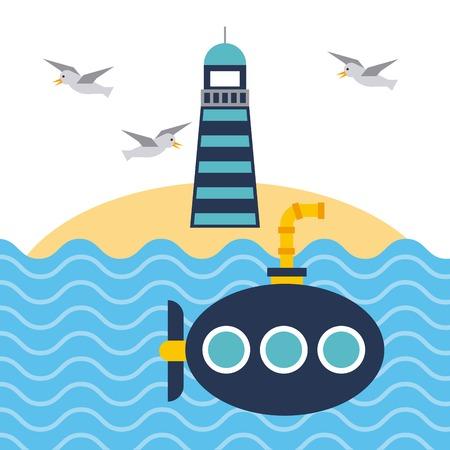 Nautical lighthouse ocean and submarine beach vector illustration.