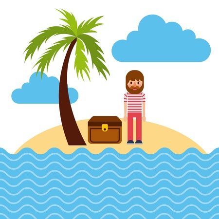 Cartoon sailor standing with treasure chest in beach tropical. Illustration