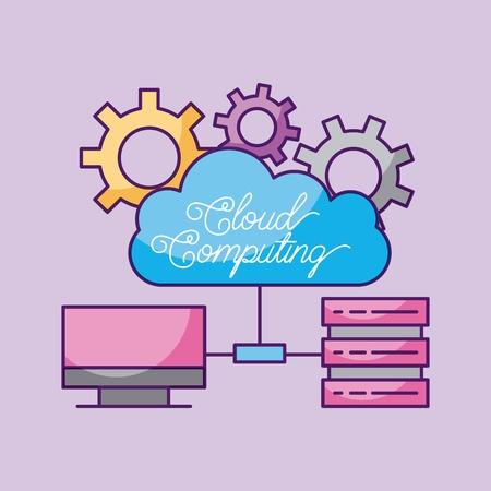 Cloud computing computer data center server information vector illustration