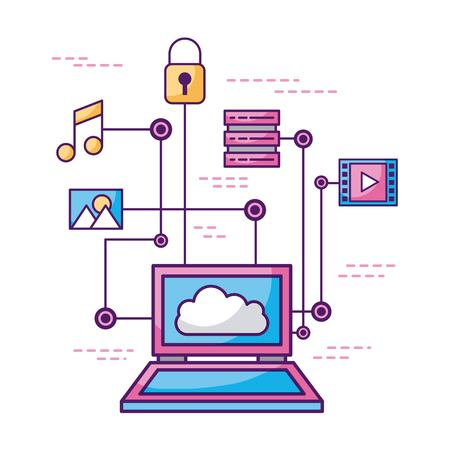 Concept of cloud computing and protecting data music photo information vector illustration