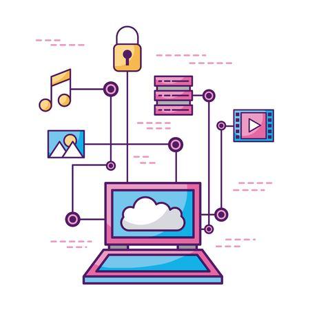 Concetto di cloud computing e proteggere dati dati illustrazione vettoriale informazioni Archivio Fotografico - 85127451