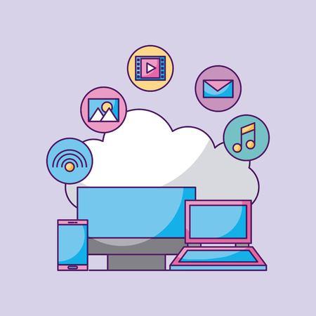 Wolk gegevensverwerkings digitale laptop en slimme de computertoepassing van de telefooncomputer vectorillustratie