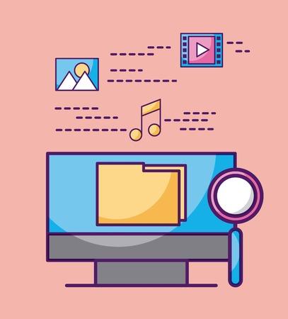 コンピューター フォルダー ファイル拡大鏡ミュージック ビデオ画像ベクトル図