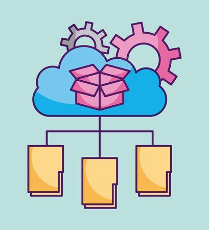 Cloud computing folder file information storage work technology vector illustration