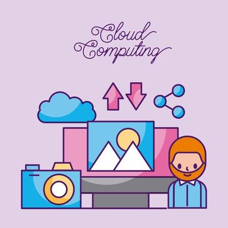 Cloud computing digital network connection technology vector illustration