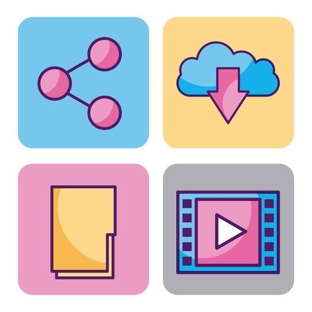 Cloud computing digital elements app social media vector illustration