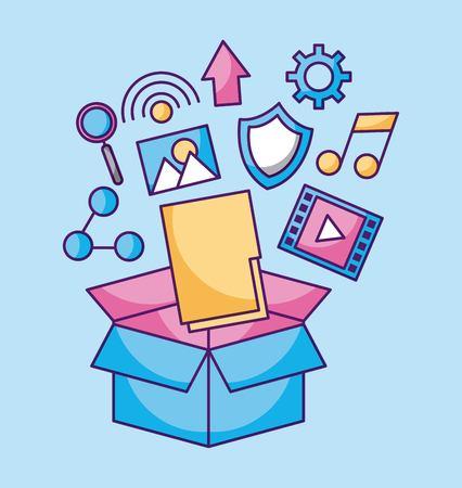Folder file application fallen box packaging technology vector illustration Иллюстрация