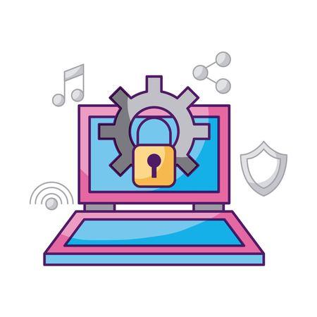 노트북 기술 보안 작업 시스템 정보 벡터 일러스트 레이션