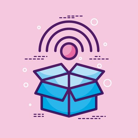 Storage box wifi internet technology pink background vector illustration Illustration