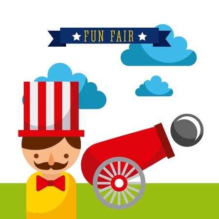 amusement plezier eerlijke thema park poster sjabloon vectorillustratie Stock Illustratie