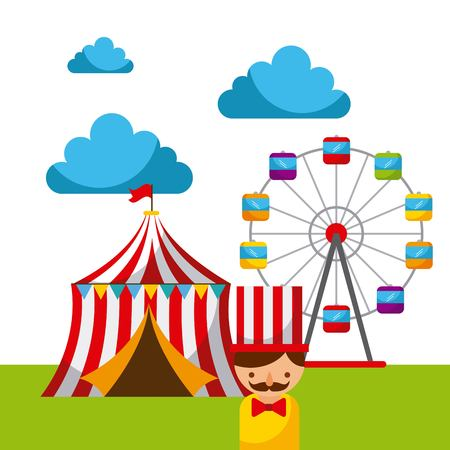 carnival fun fair festival circus park vector illustration