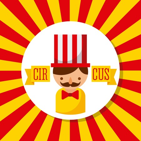 carnival host man circus show with stripes background vector illustration