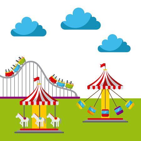 coaster: carnival fun fair festival circus park vector illustration