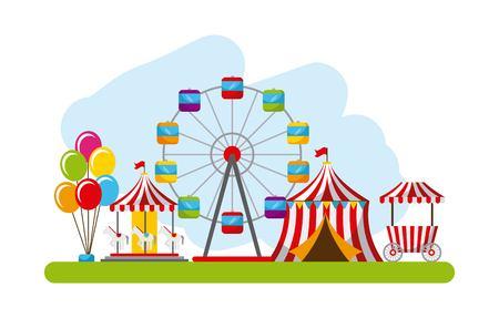 carnival fun fair festival circus park vector illustration