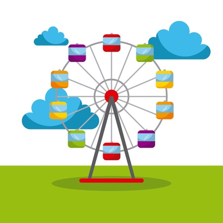 ferris wheel carnival fun fair festival circus park vector illustration