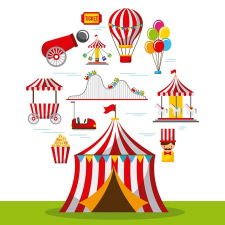Carnival fun fair festival circus park vector illustration Illustration