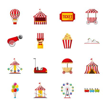 Collection of elements related to carnival and circus festival vector illustration Иллюстрация