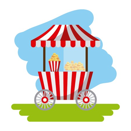 Amusement snack cart stand flat icon vector illustration