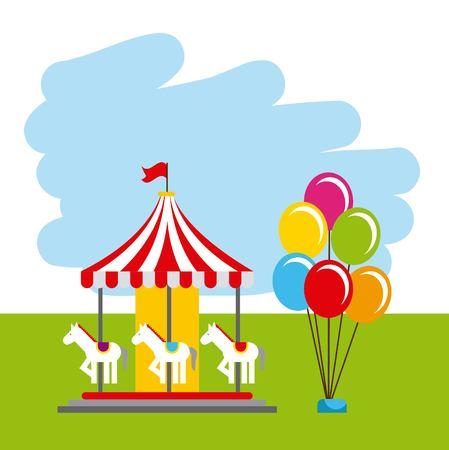 カーニバル楽しいフェア祭りサーカス公園ベクトル図  イラスト・ベクター素材