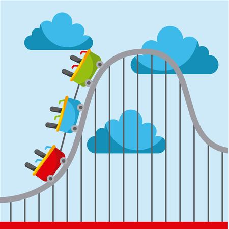 Roller coaster carnival amusement park image vector illustration
