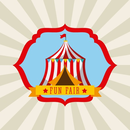Tent in fun fair poster Illustration