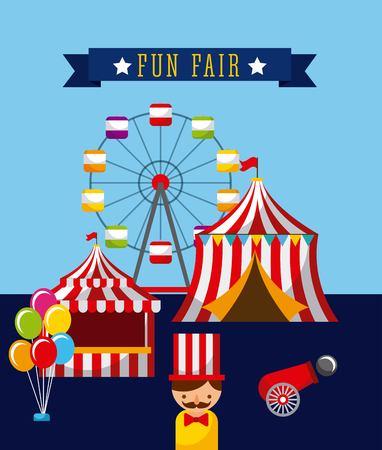 遊園地の楽しいフェア テーマパークのポスター  イラスト・ベクター素材