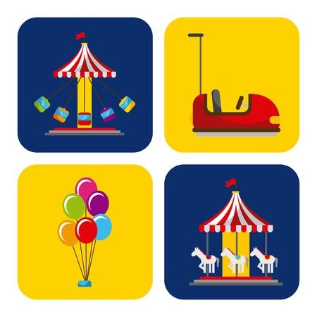 카니발 및 서커스 축제와 관련된 요소 컬렉션
