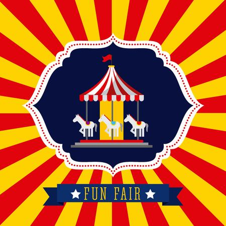 Carousel in fun fair theme park poster Stock Vector - 85132512