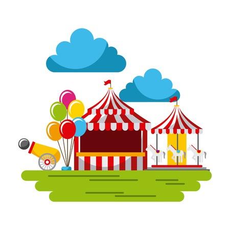 카니발 축제 박람회 축제 서커스 공원 벡터 일러스트 레이션 일러스트