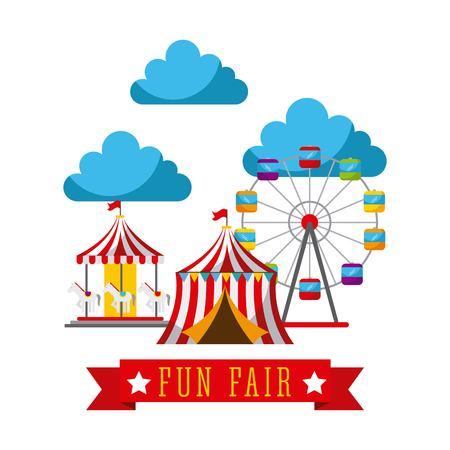 재미있는 놀이 박람회 테마 파크 포스터