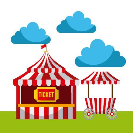 カーニバル楽しいフェア祭りサーカス公園  イラスト・ベクター素材