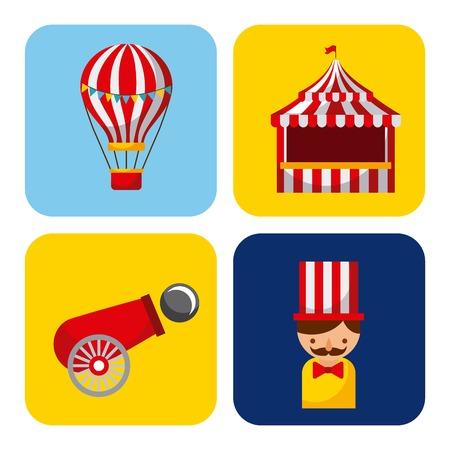Verzameling elementen met betrekking tot carnaval en circusfestival Stock Illustratie