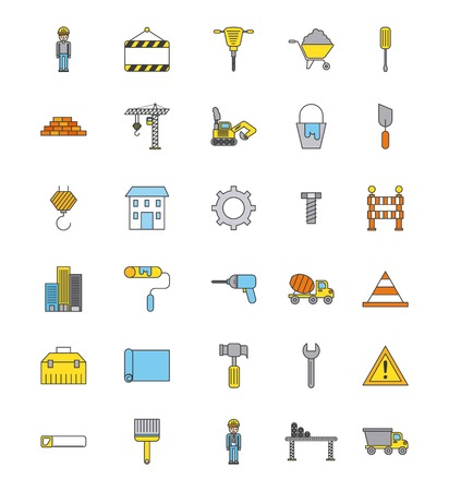 Collection construction tools repair equipment icons
