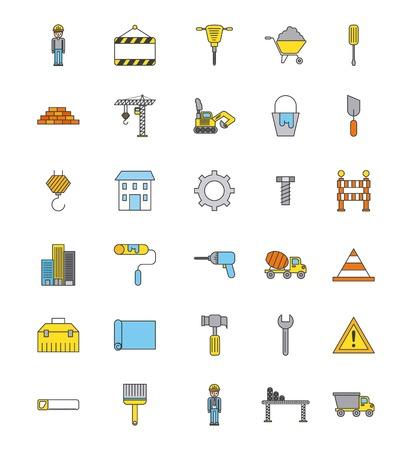Strumenti di riparazione di strumenti di costruzione di costruzione icone Archivio Fotografico - 85132522