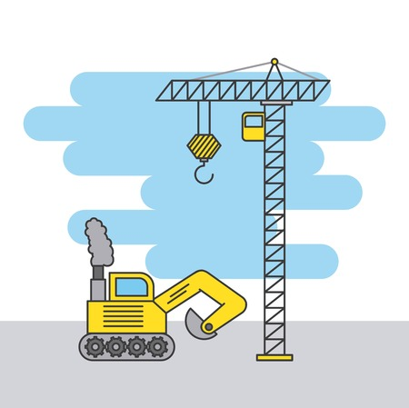 Tower crane and bulldozer truck Illustration