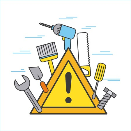 Construction signal warning alert with different tools Imagens - 85132524