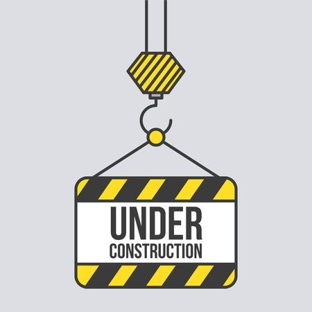 Under construction signboard hanging crane vector Illustration