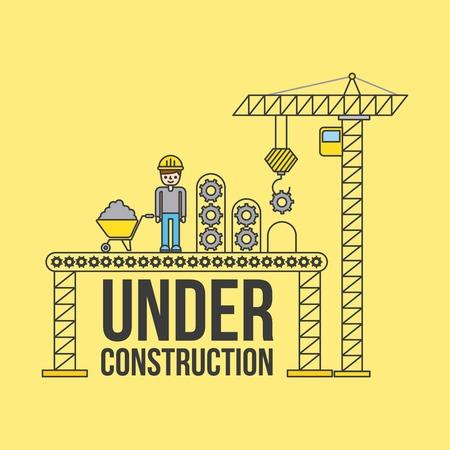Trabajador de la construcción con grúas y carretilla Foto de archivo - 85190654