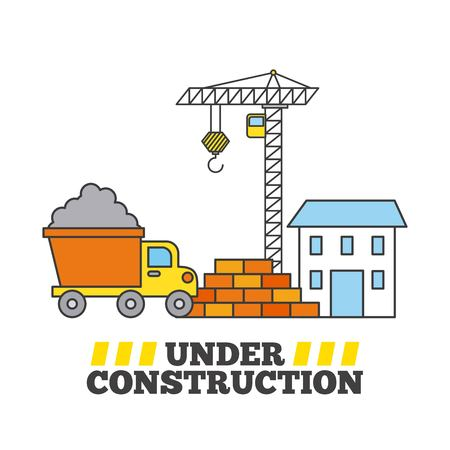 Construction house crane tipper truck and wall brick Ilustracja