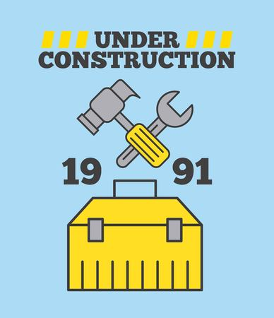 Under construction hammer and spanner toolbox Illustration