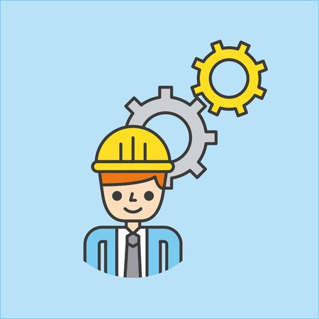 Cartoon construction manager with gears Illustration