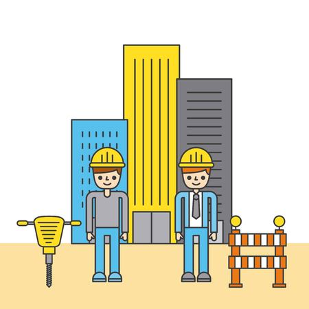 People with construction building tools Ilustracja