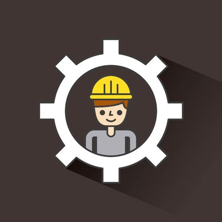 Construction man works inside gear concept Çizim