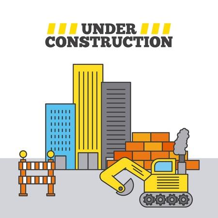 Bau-Gebäude-Bulldozer-Wand Standard-Bild - 85190674